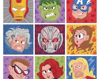 "Marvel Avengers Colorblock 8x8"" Art Print"
