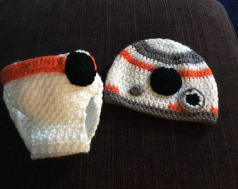 Star Wars fans, BB8 Beanie and Diaper cover set