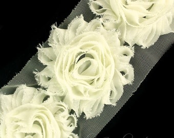 Ivory Shabby Trim 2-1/2 inches - Ivory Shabby Flowers, Ivory Flower Headband, Ivory Fabric Flower, Ivory Hair Flowers, Ivory Flowers