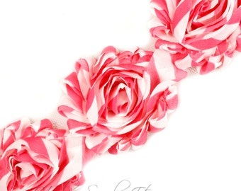 Pink Stripe Shabby Trim 2-1/2 inches - Pink Shabby Flowers, Pink Flower Headband, Pink Fabric Flower, Pink Hair Flowers, Pink Flowers