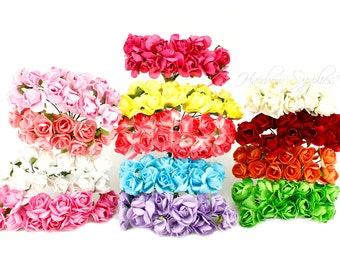 Paper Flowers 3/4 inch - Crown Flower, Headband Flowers, Paper Flower, Wedding Paper Flowers, Paper Flowers with Stems, Paper Flowers Bulk