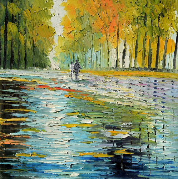 Original landscape Oil Painitng impasto palette Knife Colorful Park Trees Yellow  Sky Path couple kiss ready to hang gift art by Marchella