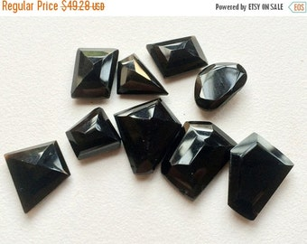55% ON SALE Black Onyx Cabochon, RoseCut Gemstones, Flat Cabochons, Black Onyx Ring, Fancy Cut Cabochons, 17x20mm To 13x13mm, 6 Pieces