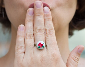 Violet ring in red, cross stitch romantic ring, r004red