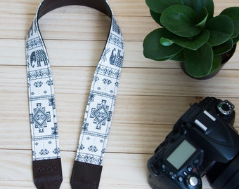 B04-Black and White Elephant Camera Strap for DSLR  , Mirror Less ,Compact