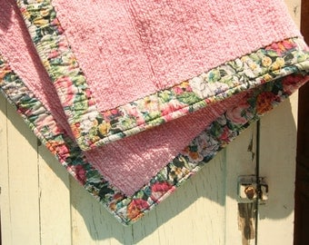 "Vintage SOFT Rug Bath Mat Chenille and Floral Quilt Fabric 33"" x 21"" Boudoir Sunroom Bedroom Art Room"