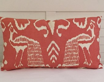 Quadrille China Seas Bali II in New Shrimp on Tint (Ivory) Designer Lumbar Pillow Cover