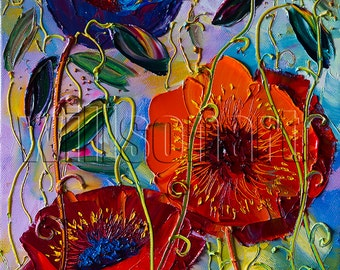 Modern Flower Canvas Oil Painting Poppy Red Poppies Textured Palette Knife Original Floral Art 12X16 by Willson Lau