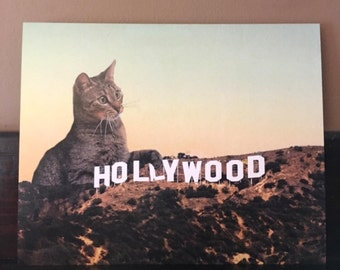 Cat Art, Hollywood Sign, Cat Art Print, Digital Print, Los Angeles, Cats, Funny Cat Art, Alternate Histories
