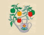 Bell Peppers in Watering Can Tea Towel   Kitchen Towel   Embroidered Towel   Embroidered Tea Towel   Hand Towel   Personalized Kitchen Towel