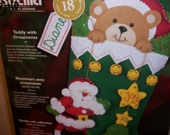 TEDDY with ORNAMENTS - Baby's First Christmas Stocking