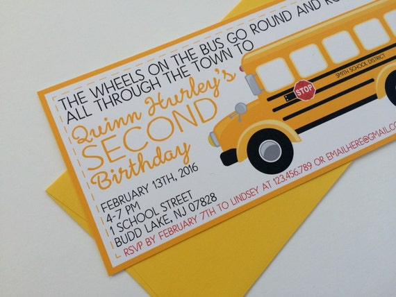 wheels on the bus invitation school bus birthday invitation