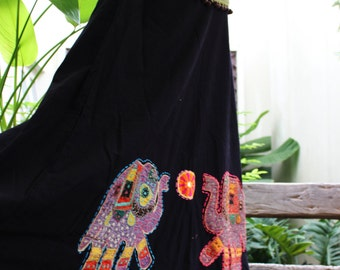 Black Cotton Skirt with Stitched Cotton Elephants MLE1610-04