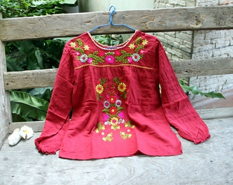 L-XL Long Sleeves Bohemian Embroidered Top - Red Wine