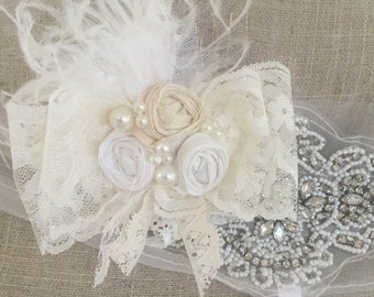 Cream sprinkles clip or headband garter wedding baby headband christening baptism cozette couture bridal