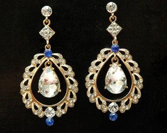 Crystal Bridal Earrings, Wedding Jewelry, Something Blue Earrings, Gold Earrings, Long Chandelier Earrings