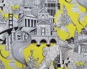 ON SALE Black White and Yellow Smokestack City Pure Cotton Fabric--One Yard