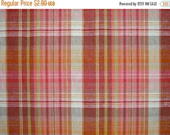 ON SALE REMNANT--Coral and Red Plaid Linen Blend Fabric--1/2 Yard
