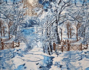 Wonderful Winter Forest Scenic Landscape Print Pure Cotton Fabric--One Yard