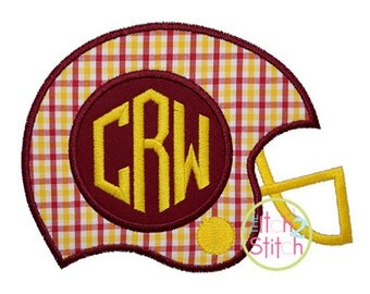 Football Helmet Monogram Applique Design Sizes 4x4, 5x7 and 6x10, shown with Honeycomb Monogram NOT Included, INSTANT DOWNLOAD