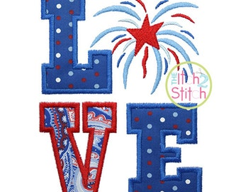 Fireworks Love Applique Design For Machine Embroidery INSTANT DOWNLOAD now available