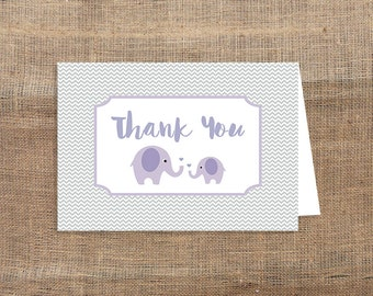Lilac Elephant Printable Thank You Card, Purple Elephant Grey Chevron Baby Shower Thank You, INSTANT DOWNLOAD