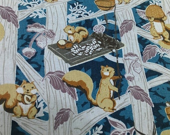 """Cute squirrel - 1 yard - cotton linen - 3 colors - animal - forest - kawaii -  Check out with code """"5YEAR"""" to save 20% off"""