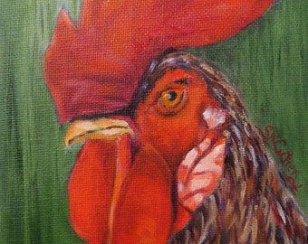 Rooster, chicken, original art, oil painting, Roux
