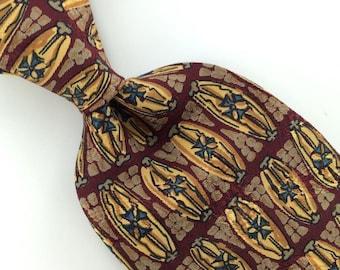 Hunting Horn Floral Deco Maroon Gold Silk Men Necktie I1-226 Excellent Ties Vintage Annata Cravatta