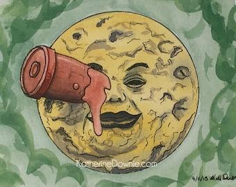 Watercolor Georges Méliès Voyage to the Moon Print