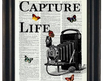 BOGO SALE Capture Life Dictionary Art Book Page A HHP Original Quote Prints Sayings Wall Art