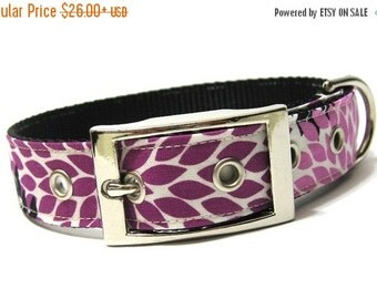BIG Summer SALE Dog Collar...Fuchsia Flower Petals