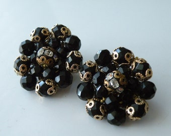 Miriam Haskell style black round clip-on earrings.