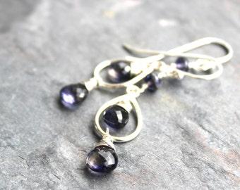Iolite Earrings Teardrop Blue Gemstone Earrings Dangle Sterling Silver Petite Faceted Violet