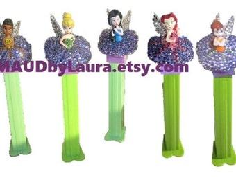 Tinkerbell and Fairy Friends 5 Swarovski rhinestone encrusted Pez Dispensers