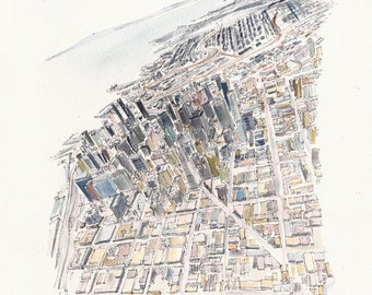 FIDI, Aerial View - San Francisco - Print from an original painting