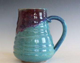 LARGE Pottery Mug, 21 oz, unique coffee mug, handmade cup, handthrown mug, stoneware mug, wheel thrown pottery mug, ceramics and pottery