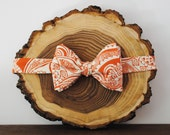 Orange & White Floral Patterned Self-Tie Bow Tie | Mens Bow Tie | Wedding Tie | Groomsmen Bow Tie | Groom Bow Tie | Freestyle Bow Tie