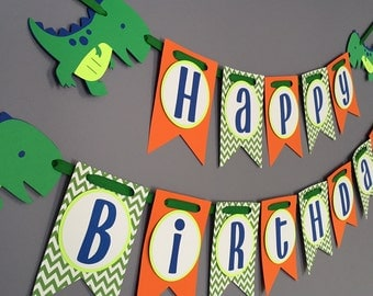 Boys Birthday Banner, Dinosaur Birthday Decorations, Dino banner, T-Rex Banner