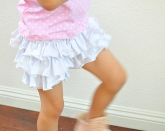 Ruffled Petti Short Pants for Girls / Girls' Ruffle Shorts / Many Solid Colors Available
