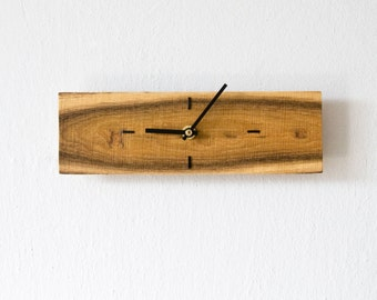 Small Wall Clock Rectangular Wood Wall Clock Modern Wall Clock Unique Wooden Clock OOAK 022