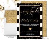 Engagement Invitation, Engagement Party Invitation, Bridal Shower Invitation, Wedding Shower Invitation, Gold Glitter, Wedding Shower