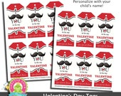 Personalized Valentine's Day Tags - Personalized Valentine's Day Cards - Mustache Valentine - Kid's Valentine's Day Cards - Valentines Party