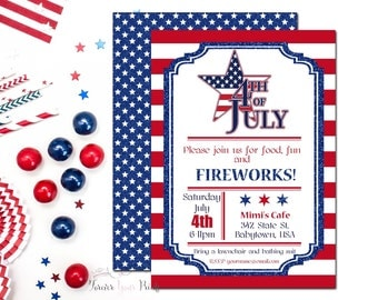 4th of July Party Invitation, 4th of July Invitation, Fourth of July Invitation, Independence Day, 4th of July BBQ, American Flag, Printable