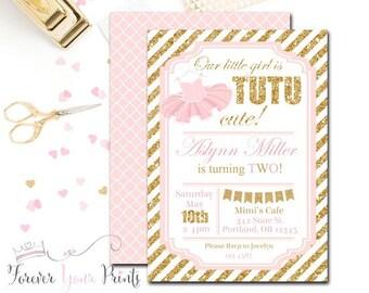 1st Birthday Invitation, Tutu Birthday Invitations, Glitter Birthday Invitations, Ballerina Party Invitations, Pink and Gold Glitter