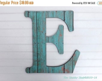 SUMMER SALE Weathered Wood/ Turquoise / Letter E / Wall Wood Letter / Capital Letter / Nursery
