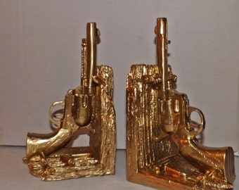 Gold Gun Book Ends / Modern Decor / Office / Library / Book Ends / Bookend