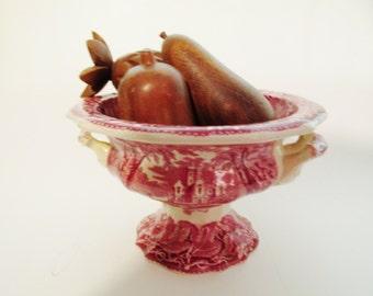 Mason's Vista Salad Bowl, English Ironstone Pekin Salad Bowl, Antique Pink Transferware Bowl, Footed Salad Bowl, Vista, Mason's Ironstone