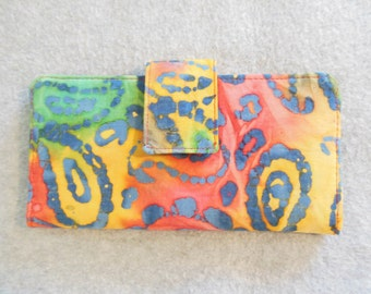 Fabric Wallet - Multicolor Paisley Batik