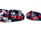 Plaid Flannel Scarf -  Navy - Scarf Set - Flannel Scarf - Huggable Harvest Collection